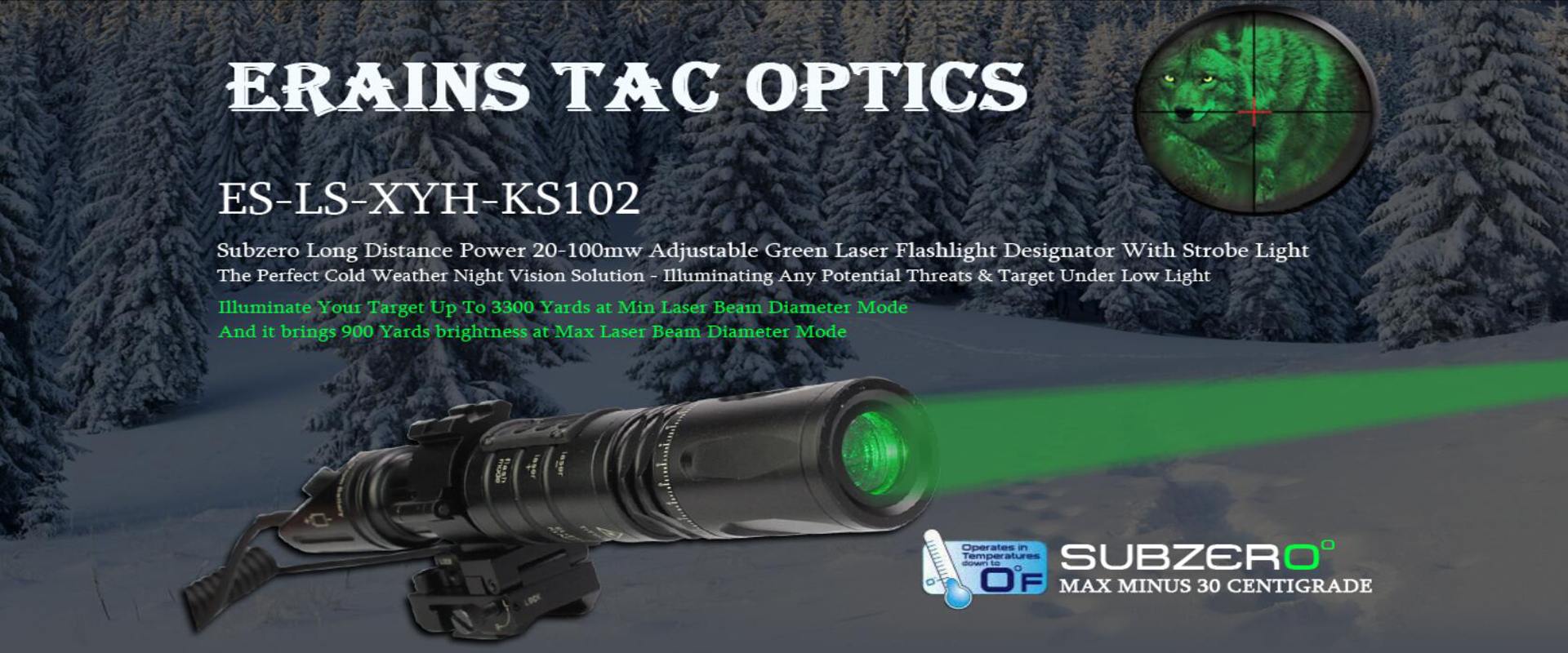 All the civilian grade and military or tactical purpose green laser designators are available.