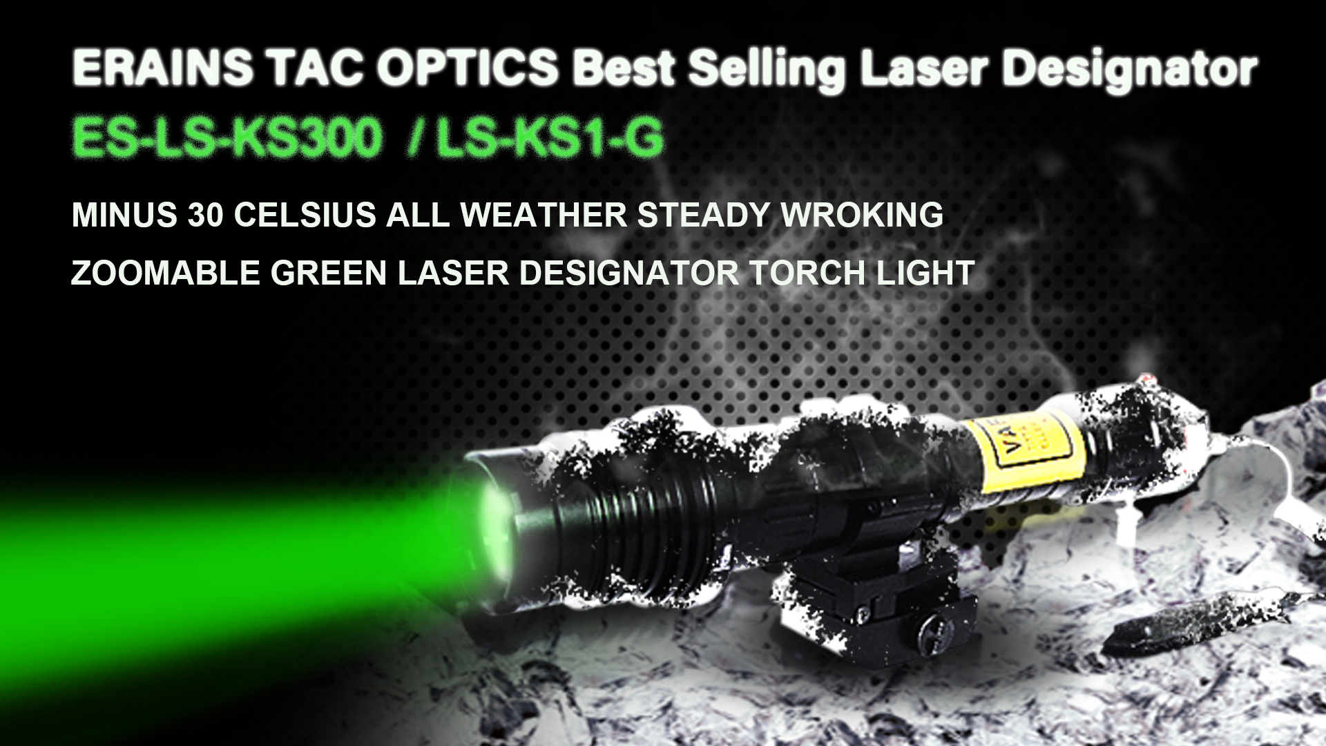 The perfect long distance subzero 100mw green laser designator with rifle mount accessories and rechargeable batteries.