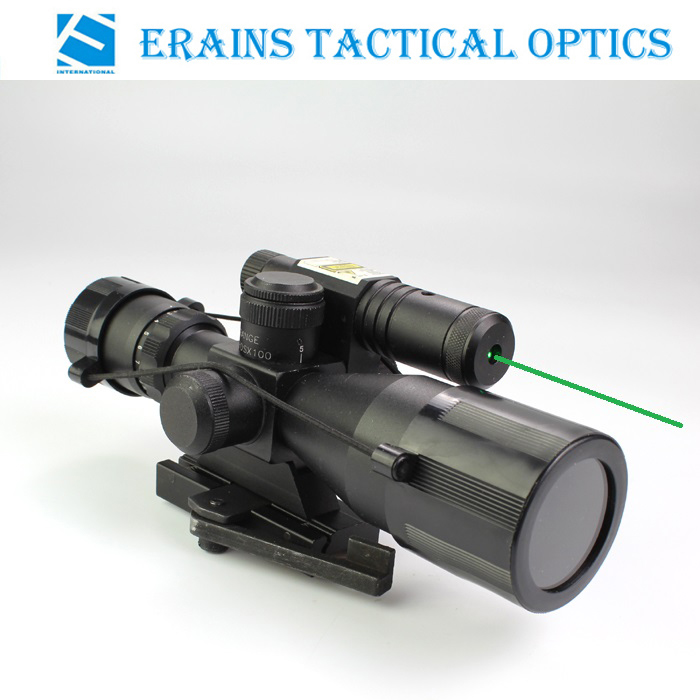 Compact 2.5-10X40 Rifle Scope Red Green Mil-DOT Reticle with Side Attached Green Laser Sight Scope with Quick Release Mount - 副本