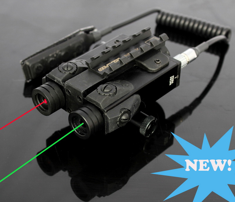 Military standard Green laser and Red laser sight combo