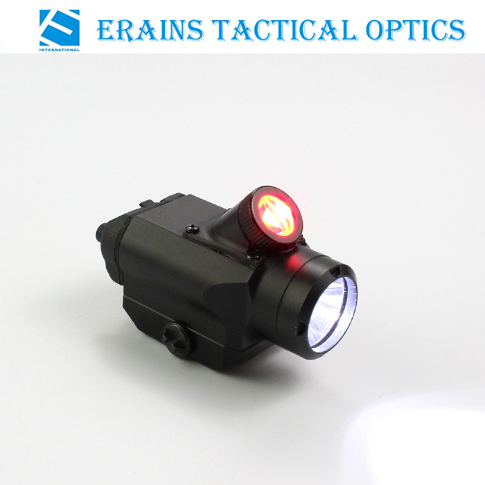 Erains TAC Optics Tactical Compact Pistol Weapon 225 Lumens Q5 LED Flashlight with 45 Degree 25 Lumens Red LED Light /Torch