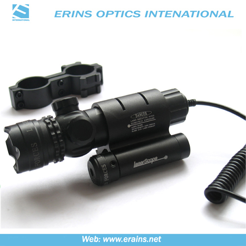 Green laser sight with mounted red laser scope combo