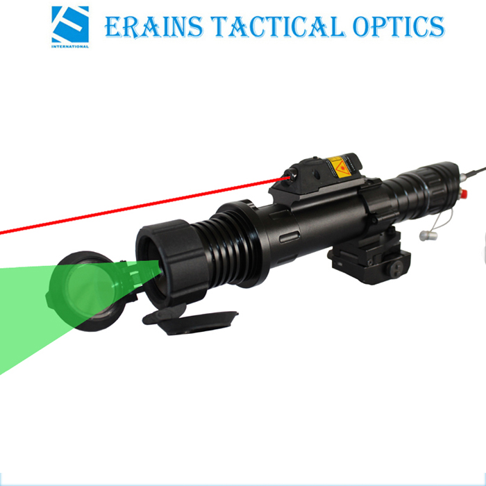 Subzero Zoomable Hunting Torch light of 100mw Green Laser Designator and laser illuminator with 5mw red laser sight combo