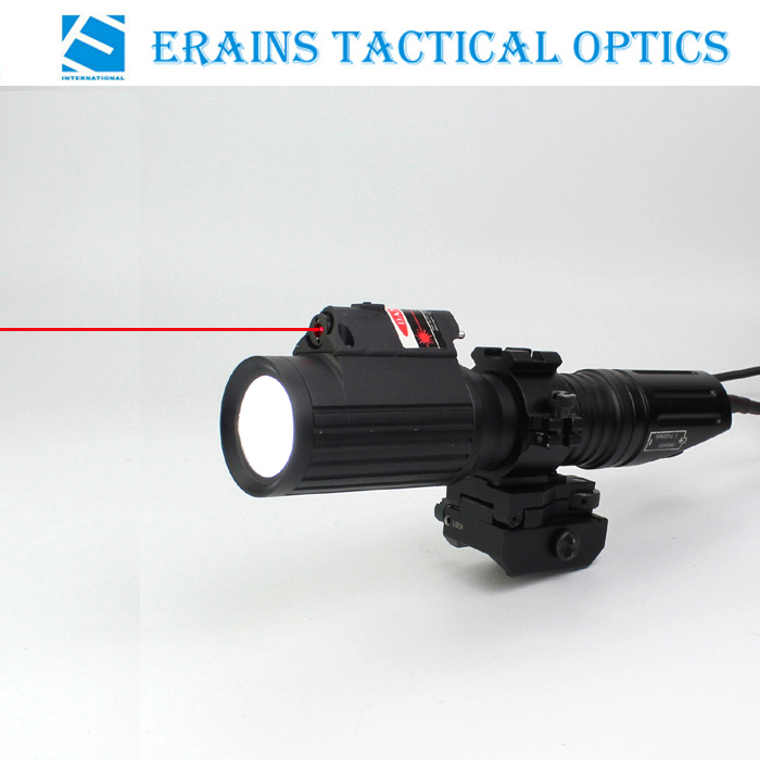 Tactical Professional Hunting 1000 Lumens CREE T6 LED Flashlight with Strobe Light Attached with Red Laser Sight