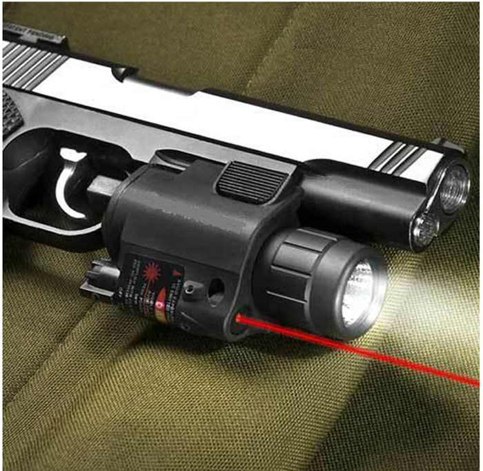 Lightweighted Plastic Housing Red Laser Sight and 200 Lumens CREE Q5 LED Flashlight Combo