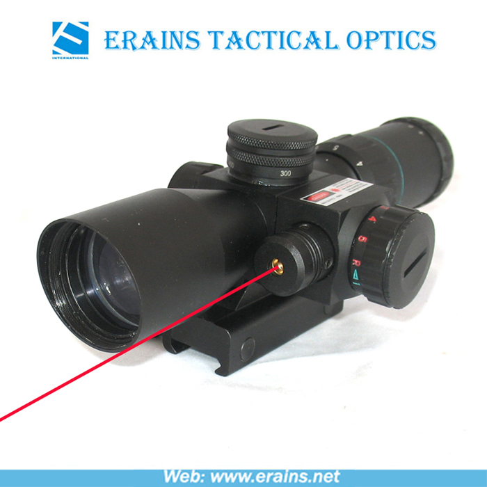 New compact 2.5-10X32 riflescope red green Mil-Dot Reticle with side attached red laser sight scope combo (FDA certified)