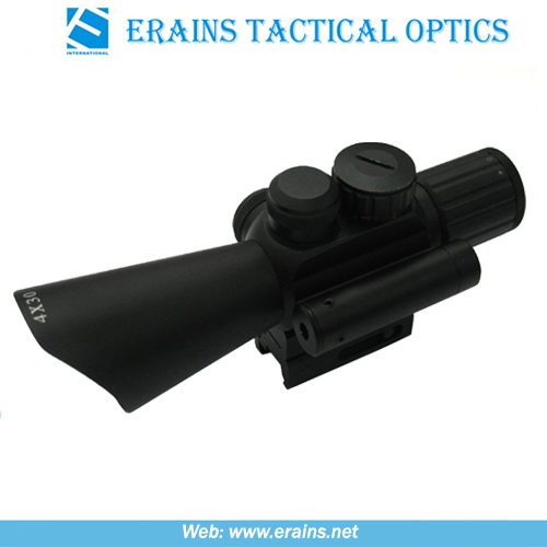 Compact 4x30 Rifle Scope Red Green Mil-DOT Reticle (M7)