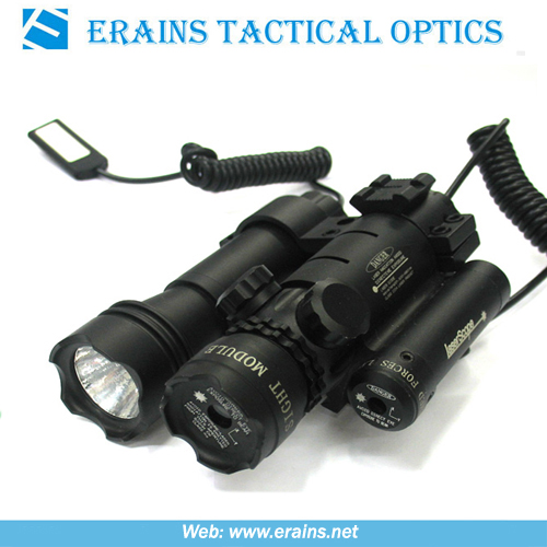 Green laser sight with mounted red laser scope and attached tactical flashlight or torch in halogon or led light combo