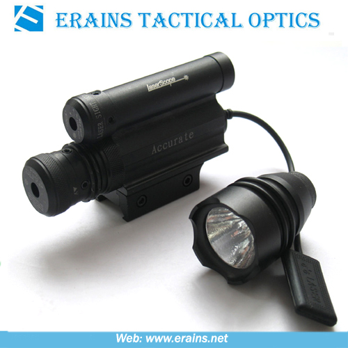 Green laser sight with replaceable flashlight head and upper mounted red laser scope combo