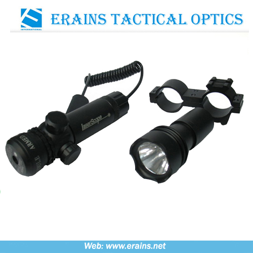 Green laser sight scope and flashlight replaceable combo