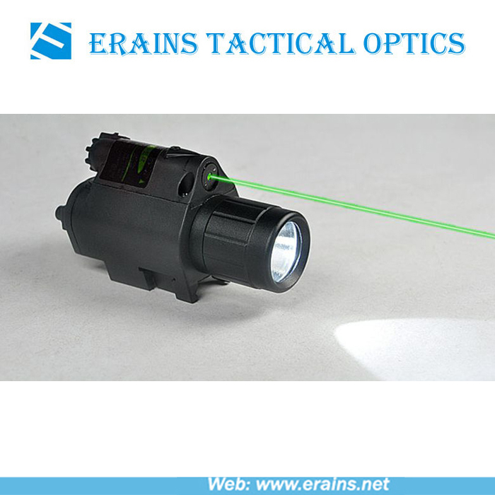 Lightweighted Plastic Housing Green Laser Sight and 200 Lumens CREE Q5 LED Flashlight Combo