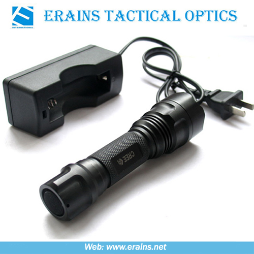 Tactical CREE Q5 LED Rechargeable Flashlight or Torch With Wall Charger