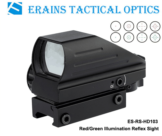Erains Tac Optics Tactical Reflex Sight with 4 Variable Red DOT Reticles Scope with Both 21mm or 11mm Dovetail Base